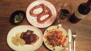 ある日の夕食、ランプ肉のステーキ